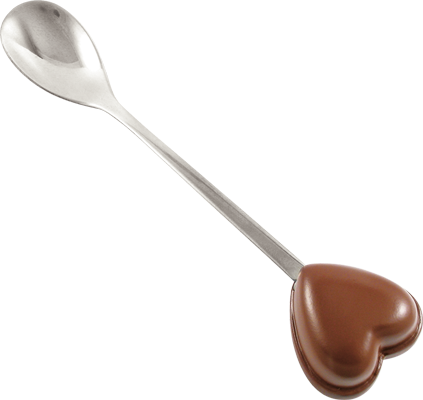 Chocolate heart spoon