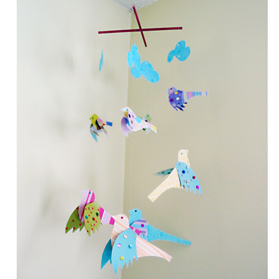 Baby Maker Picture on Pretty Paper Bird Mobile   Rare Bird Finds