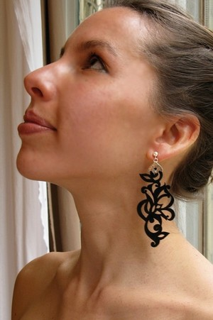 Tattoo Leather and Sterling Silver Earrings